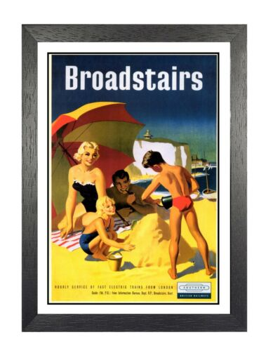 Broadstairs 2 British Railways Holiday Advert Old Vintage Retro Picture Poster