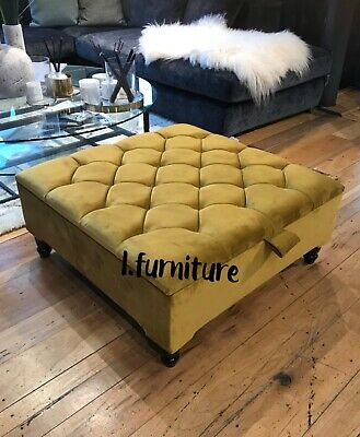 Square Storage Ottoman Footstool And Coffee Table Upholstered In Velvet Handmade Ebay