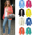 Spring Candy Color Womens Fashion Solid Slim Casual Suit Blazer Coat Jacket