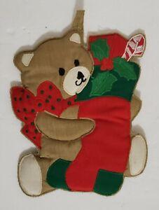 Vtg-Xmas-1985-Christmas-Bear-with-Socks-Pot-Holder-W-C-Imports-6-5-034-W-x-8-25H