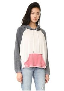 NEW Womens FREE PEOPLE Cozy Tri Colored Pullover Hoodie Sweatshirt Sweater Top