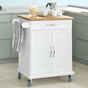 SoBuy® Kitchen Cabinet Storage Trolley Cart with Bamboo Top White ...