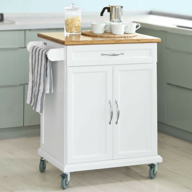SoBuy® Kitchen Cabinet Storage Trolley Cart with Bamboo Top White,FKW13-WN, UK