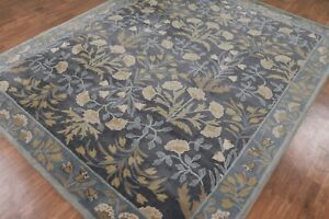 Antique-Hand-Made-Traditional-Agra-Blue-Nain-Parsian-Oriental-Wool-Area-Rug