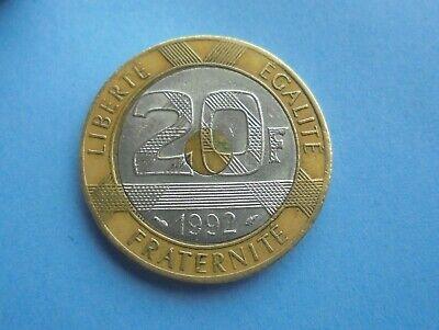 Intelectivo Francia, 20 Francos 1992, Tri-metálico, Gran Condición.