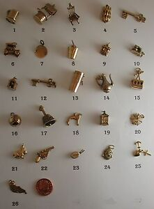 Vintage-and-Antique-Interesting-9ct-Gold-Charms-For-Bracelets-or-Pendants