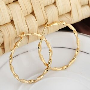 Women-039-s-Hoops-Boucles-d-039-oreilles-40-mm-18K-Or-Jaune-Rempli-Fashion-Jewelry-Gift