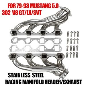 FOR-79-93-MUSTANG-5-0-302-V8-GT-LX-SVT-STAINLESS-RACING-MANIFOLD-HEADER-EXHAUST