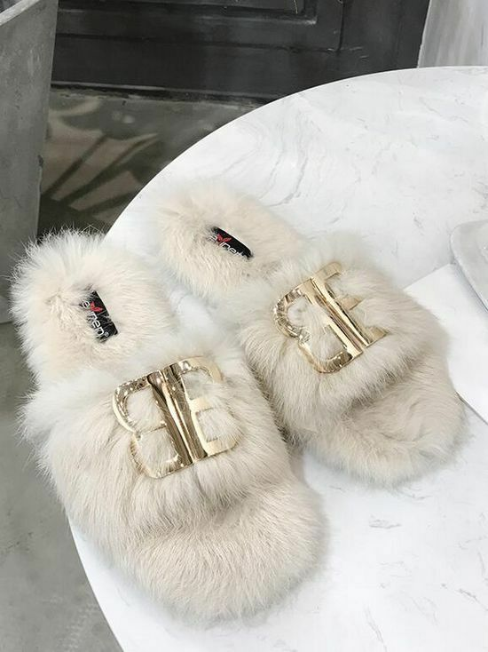 Bottes ciabatte sabot bianco morbide calde pelo pelliccia pelle sintetica 1464