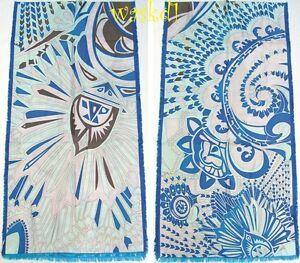 EMILIO-PUCCI-blue-WILD-WINTER-viscose-wool-silk-17x69-shawl-scarf-NWT-Authentic
