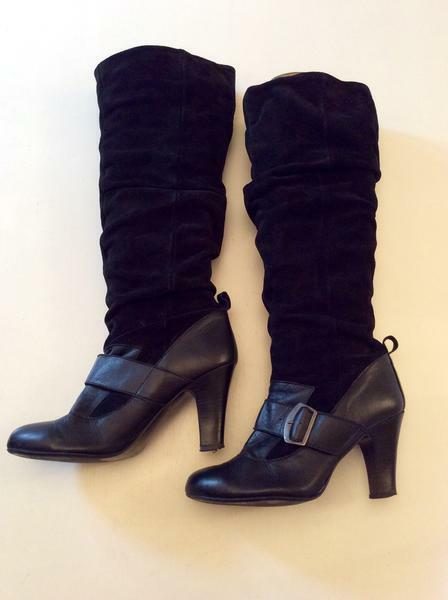 FAITH BLACK LEATHER & SUEDE BUCKLE TRIM 6/39 KNEE HIGH Stiefel SIZE 6/39 TRIM be3746