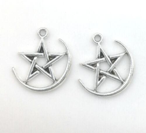 Tibetan Silver Charms Pendentif Pentagramme Pour Collier Bijoux 25pcs