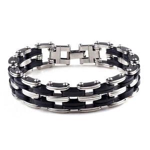 Fashion-Charm-Unisex-039-s-Men-Stainless-Steel-Rubber-Bracelet-Wrist-Bangle-Black
