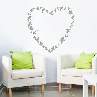 Birds Flying in Love Heart Wall Sticker - Animal Art Vinyl Decal Transfer