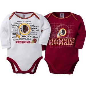 50ac1854f NFL Washington Redskins Infant Boys' 2-Pack Long-Sleeve Bodysuits 3 ...