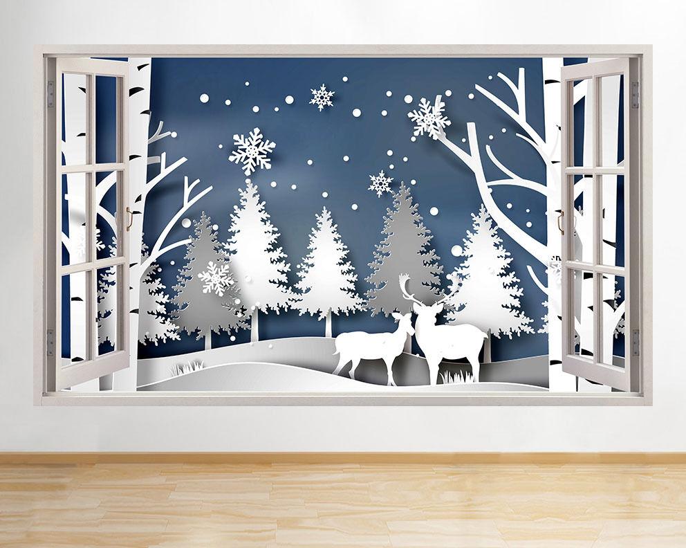 C701 mignon d'hiver de Deer Nature Arbres  Autocollant Chambre 3D Vinyle enfants