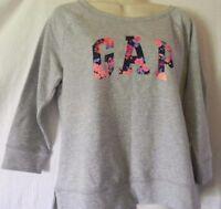 New Women's GAP Floral Logo Pullover Crew Neck  Sweatshirt Gray 3/4 sleeve Sz M