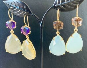 18K-Gold-Vermeil-Large-Teardrop-Earrings-Gemstones-Citrine-Amethyst-Chalcedony