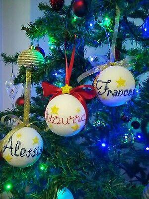 Decorazioni Natalizie Con Il Polistirolo.Palline Di Natale Personalizzabili Con Ricamo Nome Regalo Palle Albero Puntale Ebay