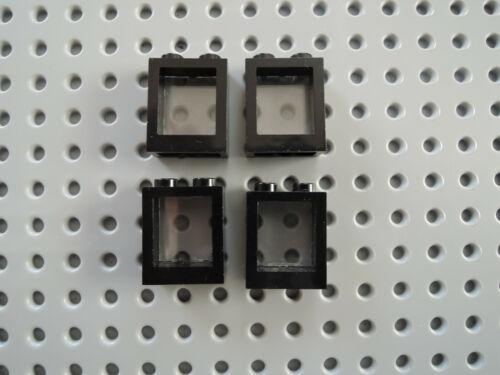 LEGO 4 x telaio finestra 60592c01 NERO 1x2x2 chiaro disco 60601 Transp