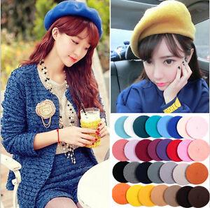 Plain-Beret-Hat-Wool-Autumn-Women-Girls-Fashion-Hats-French-Beret-Winter