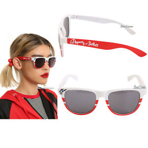 04c7449fb78 Harley Quinn Sunglasses Daddy s Lil Monster Red   White Stripe Retro ...