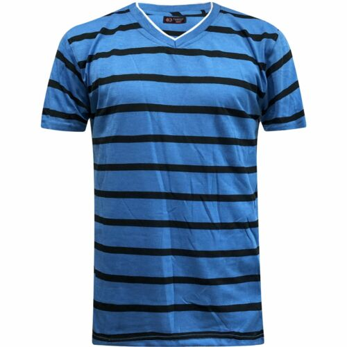 New Mens Stripe Printed Top Tee Shirt Beach V Neck Short Sleeve Striped T-Shirt