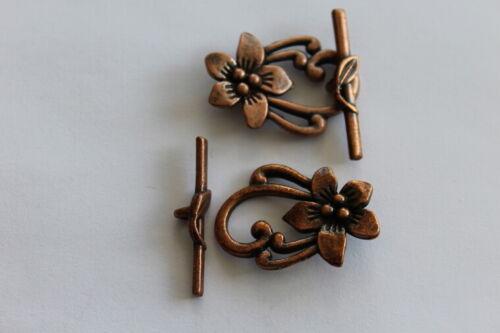 Flor De Cobre Antiguo Toggle Broche 25 X 26mm 2 piezas #8258