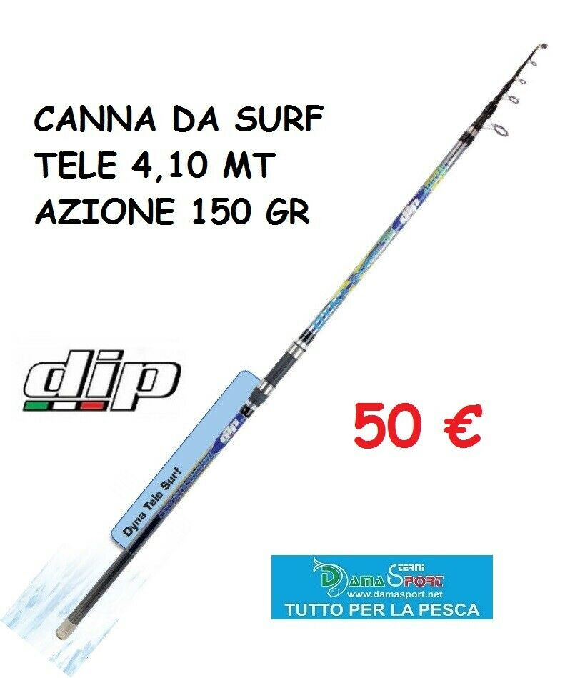CANNA PESCA DIP ALCEDO DYNA SURF 4,10 MT 150GR TELESCOPICA SURFCASTING MARE