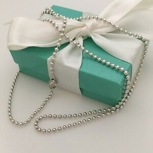 24 Tiffany Co Men S Unisex Sterling Silver Bead Necklace Dog Chain Ebay