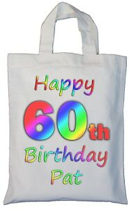 Image Is Loading PERSONALISED 60th BIRTHDAY COTTON GIFT BAG Present