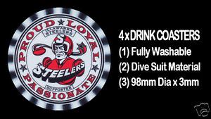 4-x-ILLAWARRA-STEELERS-RUGBY-FOOTBALL-SUPPORTERS-DRINK-COASTERS-Re-usable