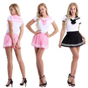 Sexy Naughty Women s School Girl Uniform Skirt Set Costume Club Wear ... 9d8e9e054