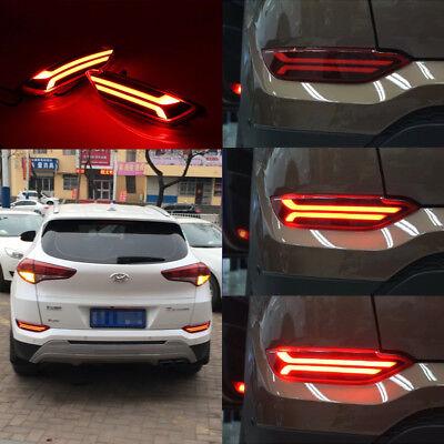 LED Rear Bumper Reflector DRL Stop Driving Brake Light For Hyundai Tucson 2017
