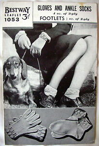 Bestway-Vintage-Knitting-Pattern-Leaflet-No-1053-GLOVES-AND-ANKLE-SOCKS-GC