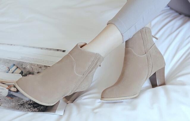Bottes talons aiguilles chaussures pour femmes 6 kaki chaud comme cuir 8251