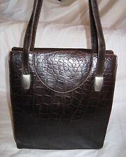 Beau  sac à main  DISSER  cuir  croco (T)BEG   bag vintage