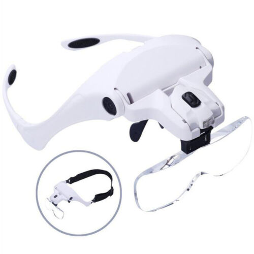 Head Mounted Magnifying Glass Loupe 2 LED Light Watchmaker Jewelry Repair Tools