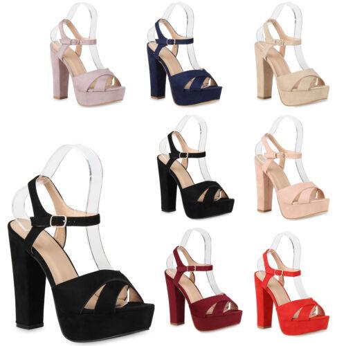 893362 Damen Plateau Sandaletten High Heels Riemchensandaletten Schuhe Mode
