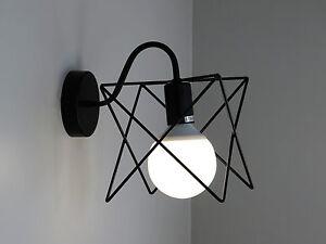Lampada da parete applique industrial vintage nero classico