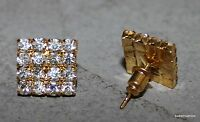 Gold Earrings 16 Square Crystals Jewelry Posts Gold Backs