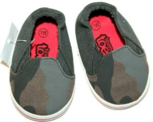 Teeny-Toes-Baby-Boy-Green-Grey-Camo-Camouflage-Slip-On-Shoes-1W-or-2W