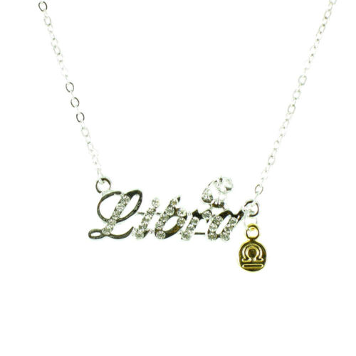 Clear Crystal on Silver Plated Zodiac Star Sign Necklace MORE STAR//ZODIAC SIGNS