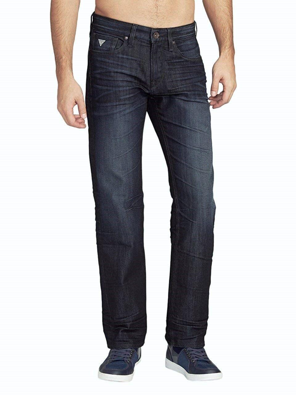 Guess Herren Bequemer Gerades Bein Jeans in Riverfront Wash Sz 32    Qualitätsprodukte