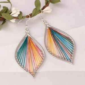 Multi-Color-Boho-Woman-925-Silver-Hook-Drop-Dangle-Party-Gift-Earrings-Jewelry