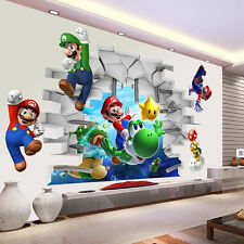 Huge Super Mario 3D Nursery Cartoon Wall Stickers Mural Decal Kids Room Decor