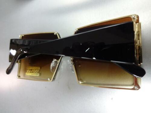 OVERSIZE LUXURY Fashion RETRO SHIELD Style SUNGLASSES Gold Frame Flat Honey Lens