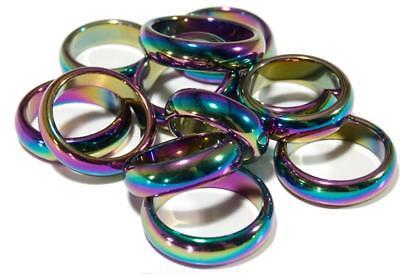 24 RAINBOW HEMATITE STONE RINGS rock jewelry mens women band ring health energy