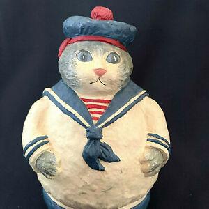 Vintage Resin Sailor Grey Tabby Kitty Roly Poly Figurine