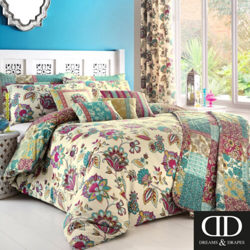 Dreams /& Drapes Marinelli Easy Care Duvet//Quilt Cover Bedroom Range Teal